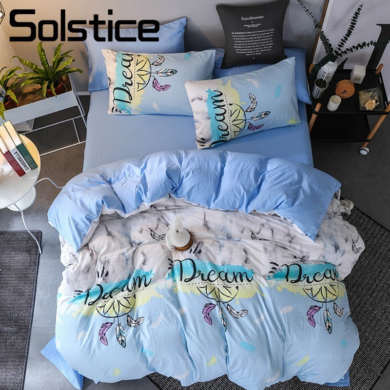 Solstice Home Textile Dream Catcher Light Blue Bedding Set Kid Teen Boy Girl Linen Duvet Cover Pillowcase Bed Sheet Double Queen