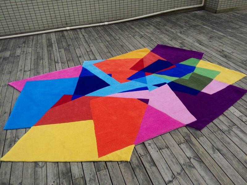 Tappeti Colorati Per Salotto : Stile fiber acriliche carpet mat arcobaleno cubo tappeti per un
