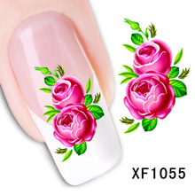 red rose flower design Water Transfer Nails Art Sticker decals lady women manicure tools Nail Wraps Decals wholesale XF1055