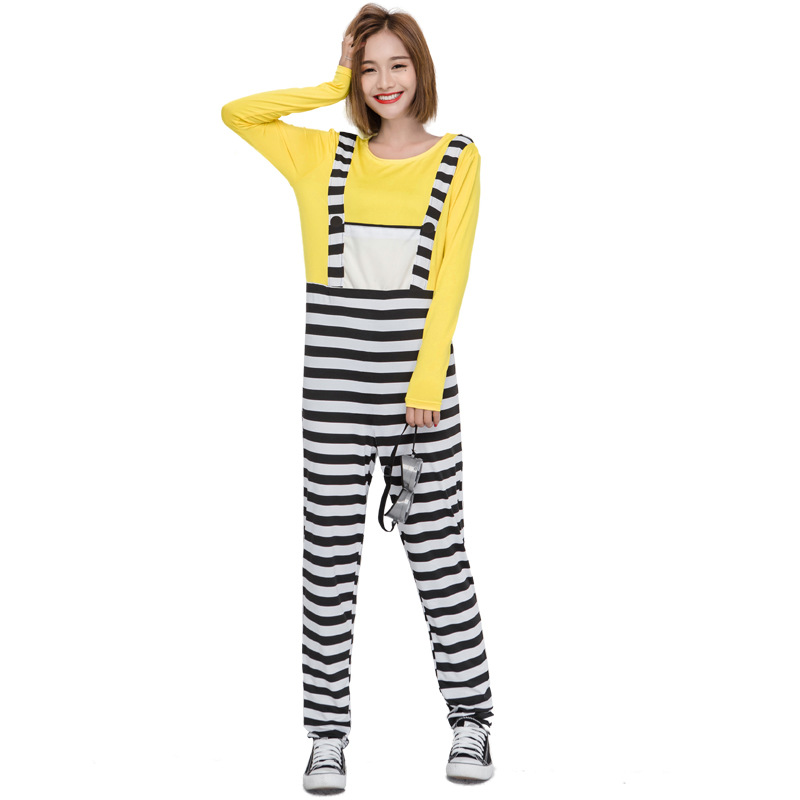Faux 2 pièce Salopette Despicable Me Minions Cosplay Pour Adulte Jaune Jeu Performance Halloween Costumes Disfraz Mujer