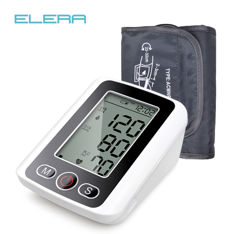 ELARA Arm Blood Pressure Pulse Monitor with Voice  Function LCD Portable Heart Beat Meter for Measuring Automatic Health Care voice version digital lcd upper arm blood pressure monitor heart beat meter machine spygmomanometer portable home type free ship