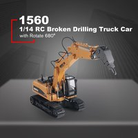 HUINA TOYS 1560 1/14 16CH Alloy RC Broken Drilling Truck Engineering Construction Car Vehicle with Sound Light Rotate 680 de RTR
