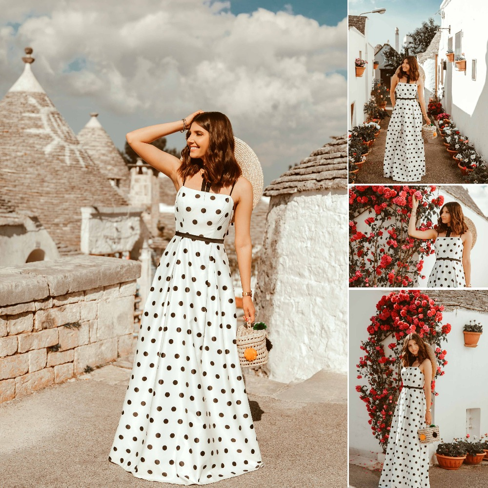 2018 Polka Dot Printed   Prom     Dresses   Ever Pretty EP07214 Long Spaghetti Strap A-line Satin Formal Party   Dresses   With Pocket