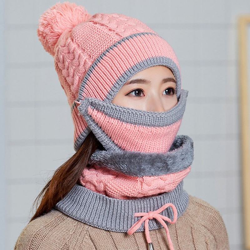 Women Winter Warm Hat Scarf Set Knitted Thickened Hat With Warm Mask And Neck Scarf Driver Windstop Sets For Women