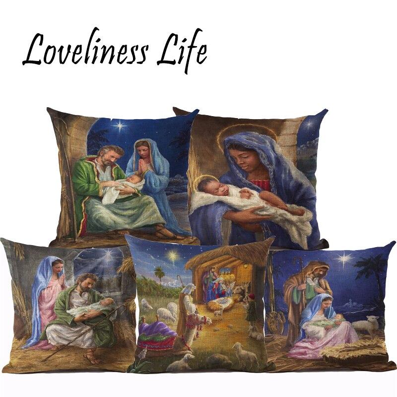 45x45 Cotton Linen Cushion Cover Christmas Printed Fundas Throw Pillow Chair Cushion Home Decor Square Cojines Housse De Coussin