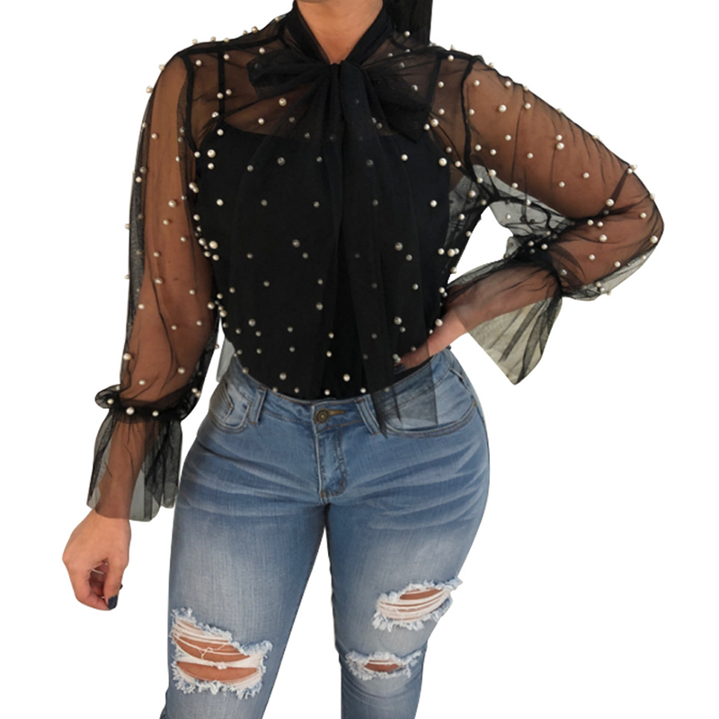 Sexy Women Tops Shirt Loose Long Flare Sleeve Mesh Top Beadding Bow Summer Women's Clothing Large Size WS6369P