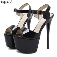 16cm Ultra High Heel Black Shoes Sexy Stripper Shoes Party Pumps Summer Thin Heel Platform High Heel Sandals FashionLadies Shoes