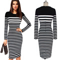 2016 Striped Casual Women  Dress  Black White Striped Ziipper Long Sleeve Slim  Desigual Women Dress Office Dresses