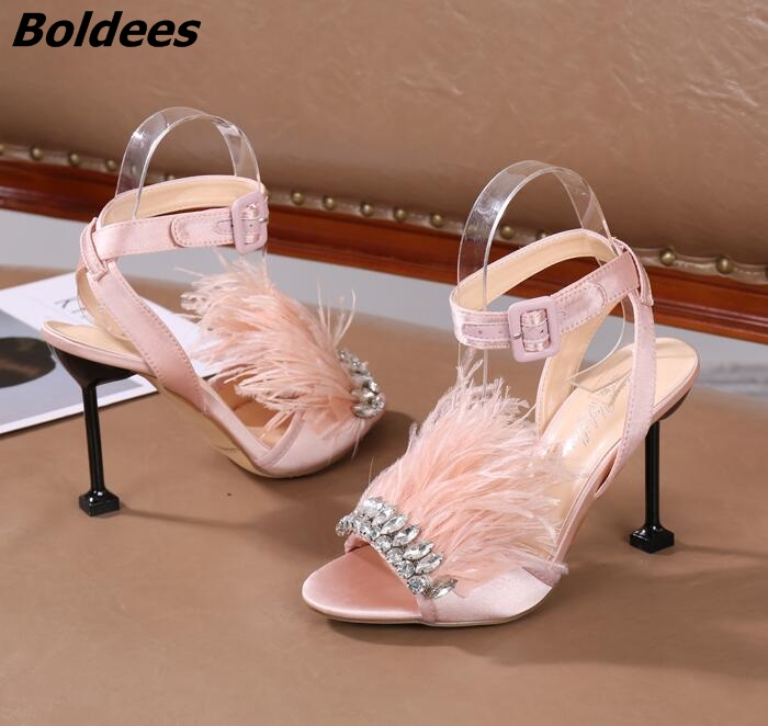 Trendy Designer One Line Buckle Style Crystal High Heel Sandal Shoes Woman Fur Stilettos High Heels Crystal Wedding Sandals - 4