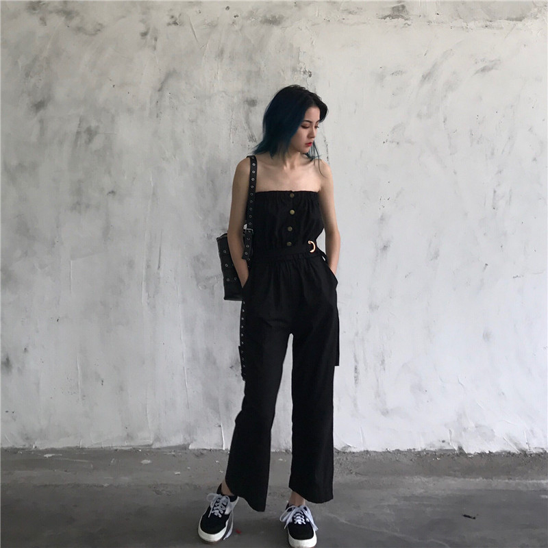 2018 Summer New Plus Size Fashion Women Casual High waist Loose Wrapped chest Wide leg trousers Vintage Female jumpsuit L0038