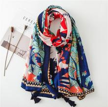 Vintage ethnic style scarf Colorful fashion color Flower print seaside holiday travel beach towel shawl