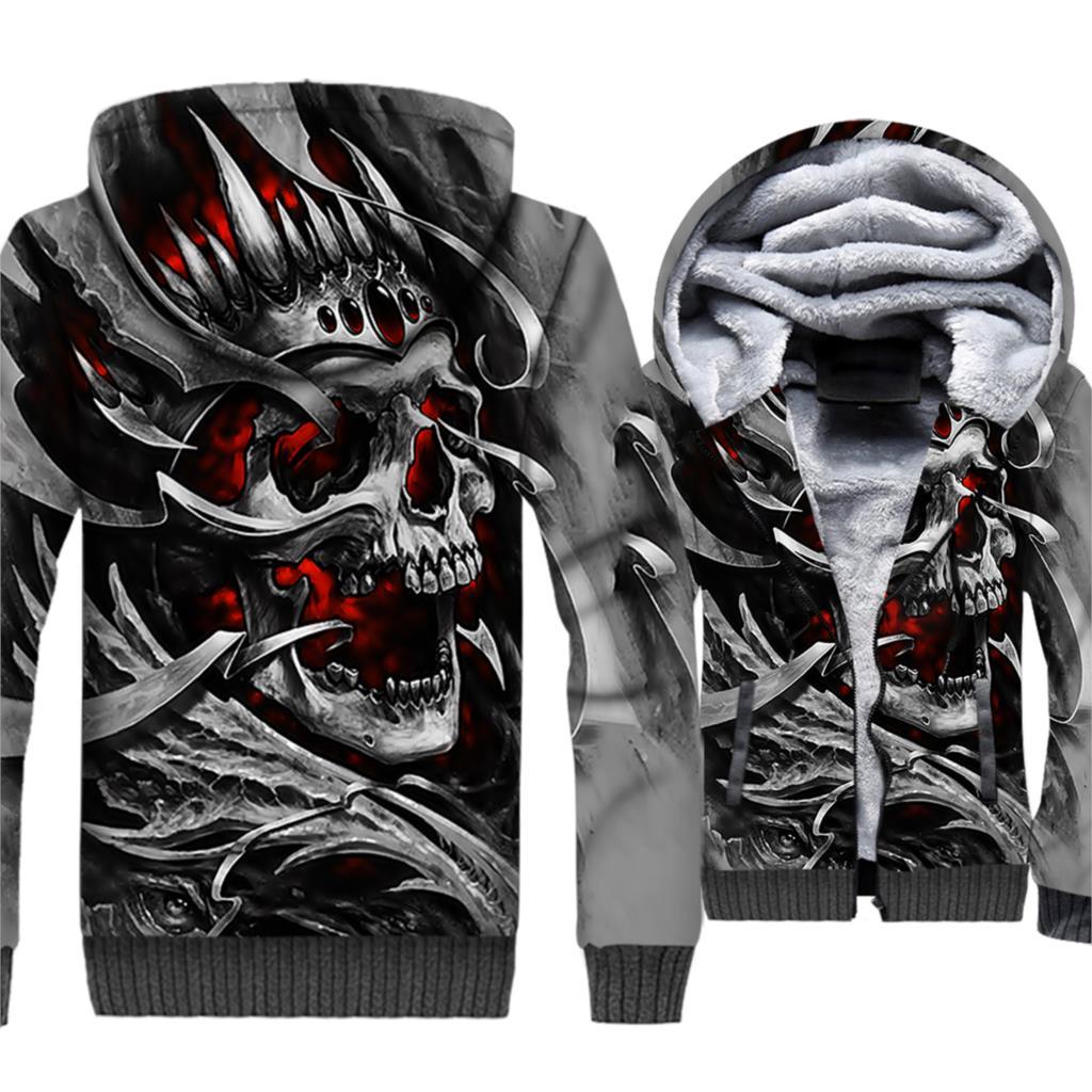 3D Print Skulls Hoodie Mens Winter Thick Outwear 2019 Fleece Warm Jacket Male Coat Motorcycle Streetwear Brand Costume 5XL Tops