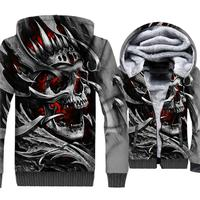 New Arrival Winter Thick Hoodies For Men 2019 Fleece Warm Jacket Male Skulls Coat