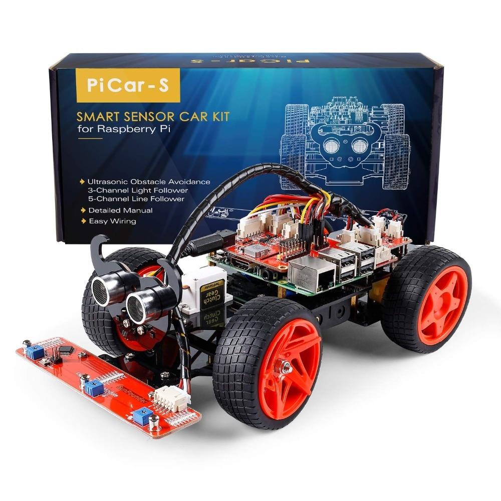SunFounder Raspberry Pi 4B/3B/3B+ Smart Robot Car Kit PiCar-S Line Following Ultrasonic Sensor Light Following Module Robot Kit