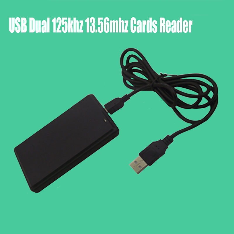 USB Dual Frequency RFID Card Reader Proximity Sensor 125khz 13.56mhz Smart Cards Reader for Access Contro l usb 125khz em4100 rfid proximity reader 5 cards 5 key tags 5 dia card