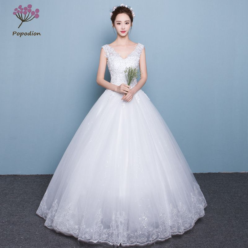 US $79.5 47% OFF|Popodion wedding dress lace plus size simple wedding gowns  for bride bride dress vestido de noiva WED90453-in Wedding Dresses from ...