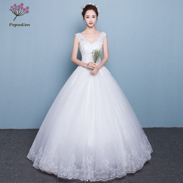 Popodion wedding dress lace plus size simple wedding gowns for bride ...