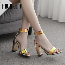 Roman Fashion Sequins Womens Sandals 2019 New Arrival Summer Super High Heels Sexy Thick With Color Buckle Female Casual Shoes