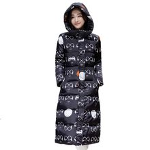 2016 Winter Cotton Padded Jacket Women Plus Size Print Glasses Pattern Down Coat Hooded Thickening Warm Parkas Outerwear PW0462