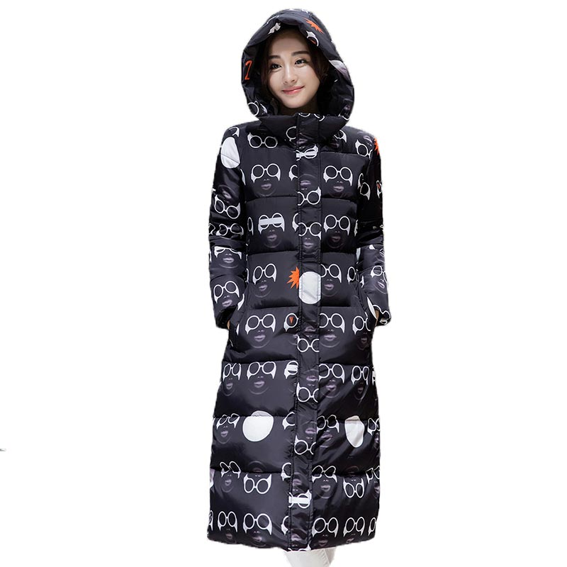 2017 Winter Cotton Padded Jacket Women Plus Size Print Glasses Pattern Coat Hooded Thickening Warm Parkas Outerwear PW0462 2017 winter women plus size in the elderly mother loaded cotton coat jacket casual thickening warm cotton jacket coat women 328