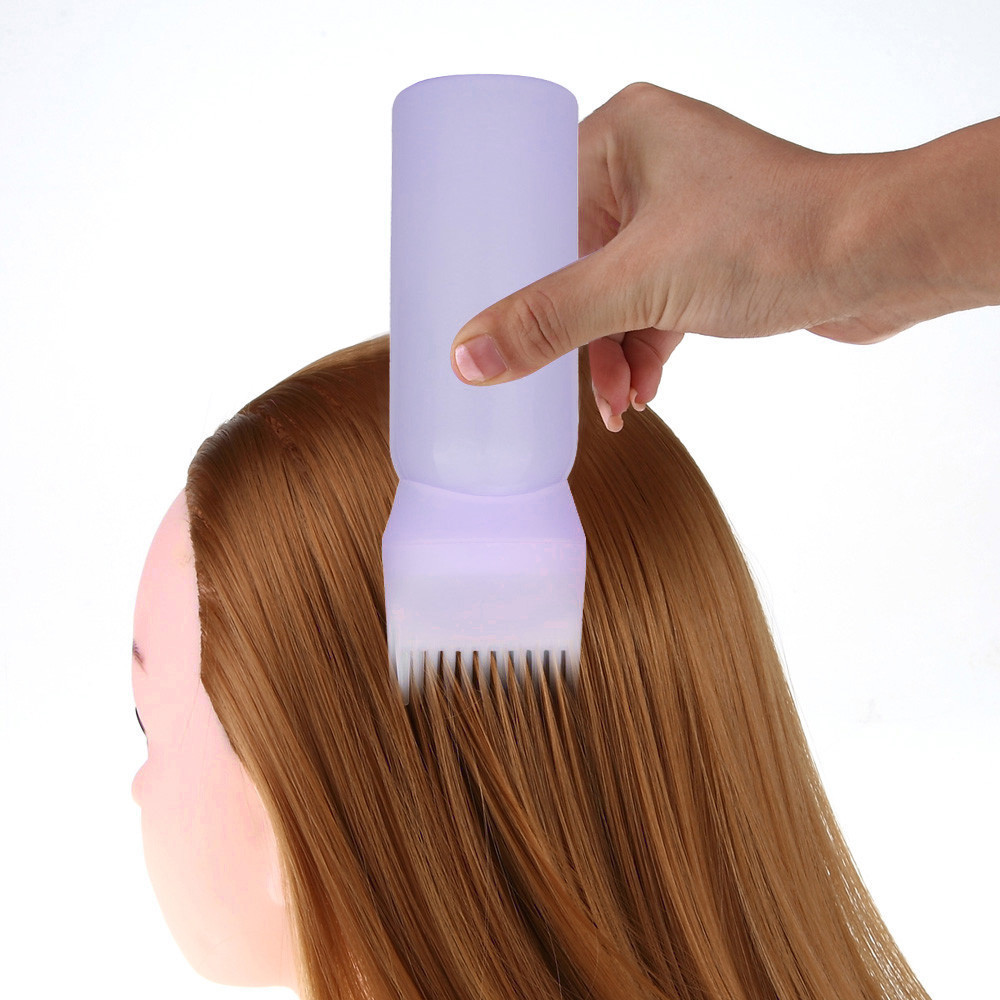 60Z Capacity Purple Hot Hair Dye Bottle Applicator Brush Dispensing Salon Hair Coloring Dyeing Sets plastic Bottle #675