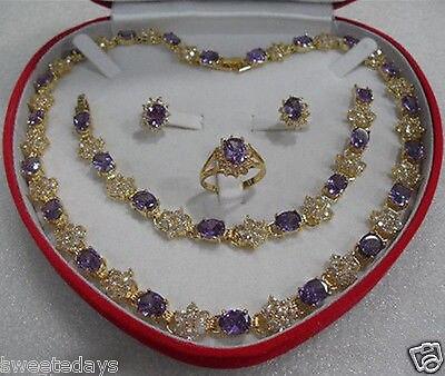 Nouveau Style offre spéciale ******** cadeau de la mère violet cristal 18KGP boucle d'oreille Bracelet collier anneau de mode bijoux de fête de mariage