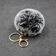 High Quality 8cm White tip fur pom ball keychain 1 6 colors women bag key chains pompon porte clef pompom de fourrure
