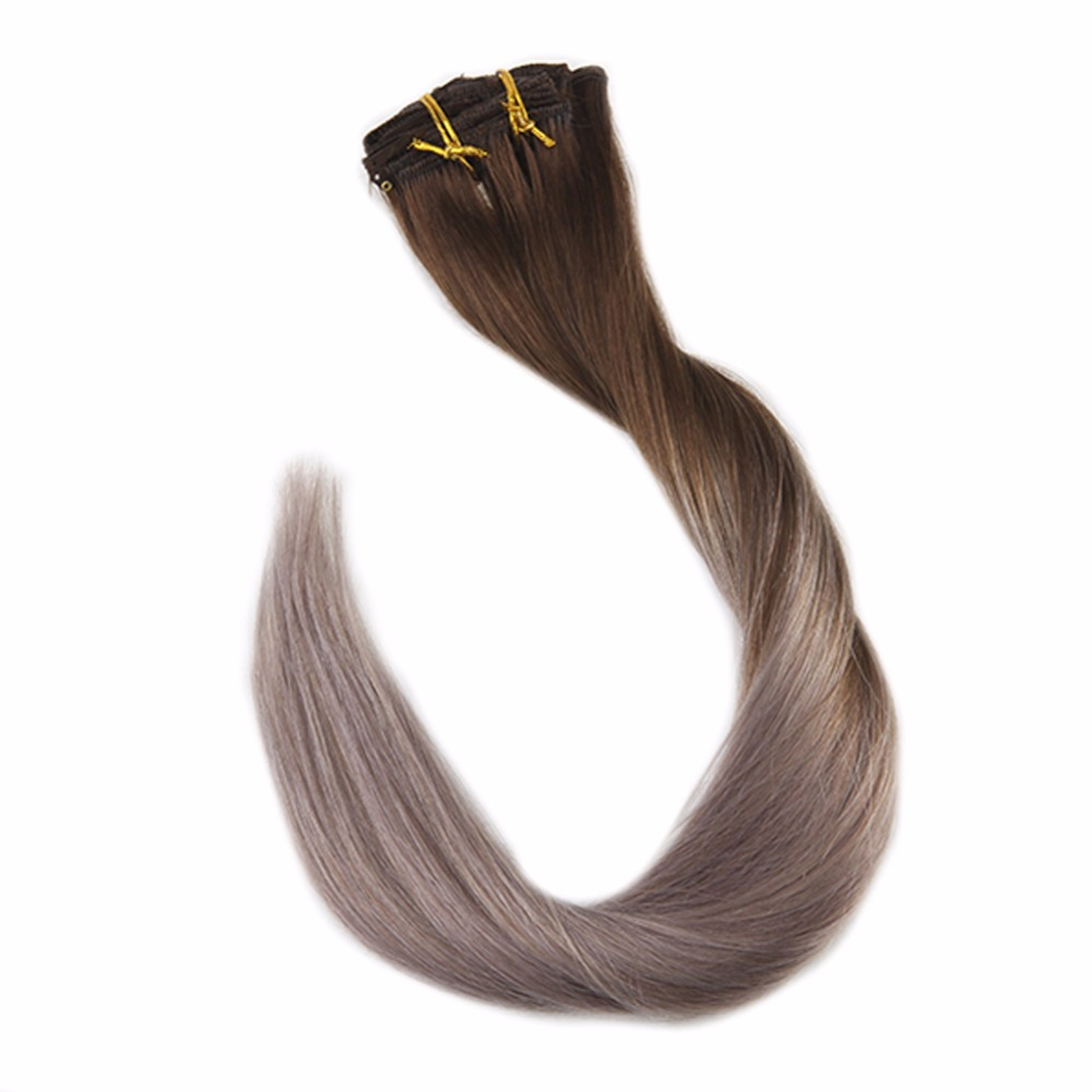 Full Shine 100% Remy Human Hair Clip In Extensions Ombre Color#4 Dark Brown Fading To 18 Ash Blonde 7Pcs 50g Clip Extension