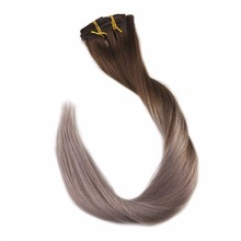 Full Shine 100% Remy Human Hair Clip In Extensions Ombre Color#4 Dark Brown Fading To 18 Ash Blonde 7Pcs 50g Extension