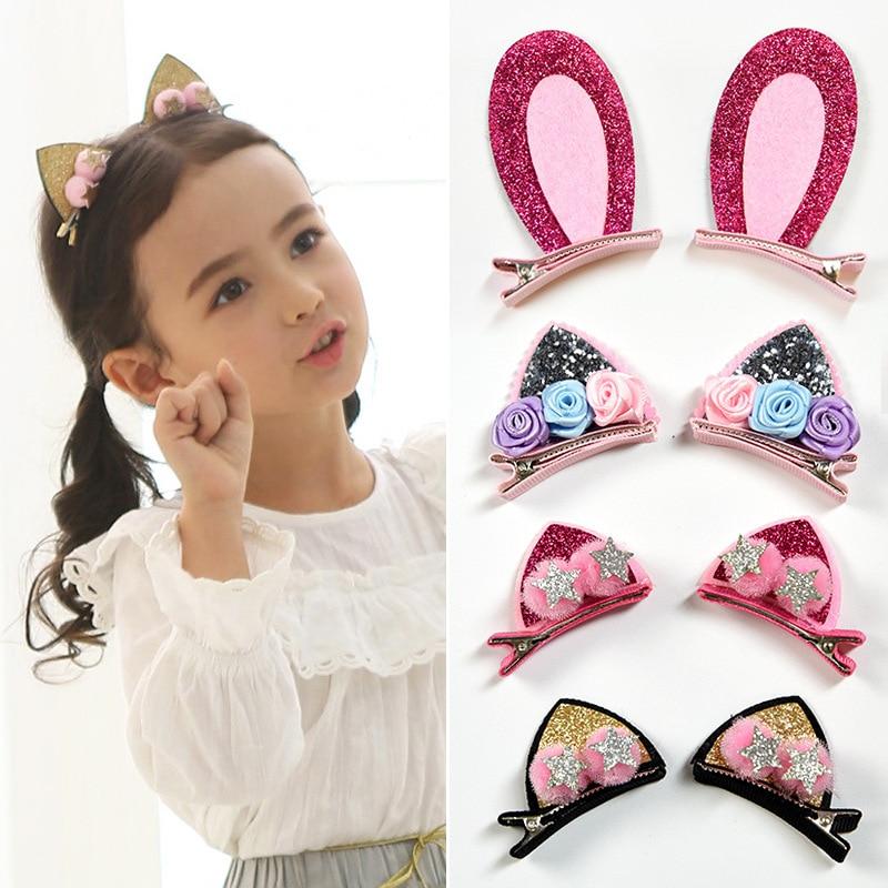 2pcs/Set Cute Hair Clips For Girls Glitter Rainbow Felt Fabric Flowers Hairpins Cat Ears Bunny Barrettes Kids Hair Accessories