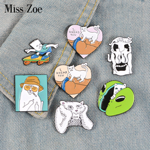 Funny Cats Enamel Pins Middle Finger Cat Animal Badge Brooches Lapel Pins Denim Shirt Bag Cartoon Fashion Jewelry Gift Friends funny cats enamel pins middle finger cat animal badge brooches lapel pins denim shirt bag cartoon fashion jewelry gift friends