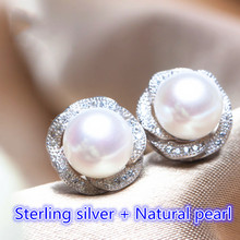 Genuine Fashion Pearl Earrings High Quality Natural Freshwater Pearl Rose 925 Sterling Silver Earrings Pearl Jewelry For Women