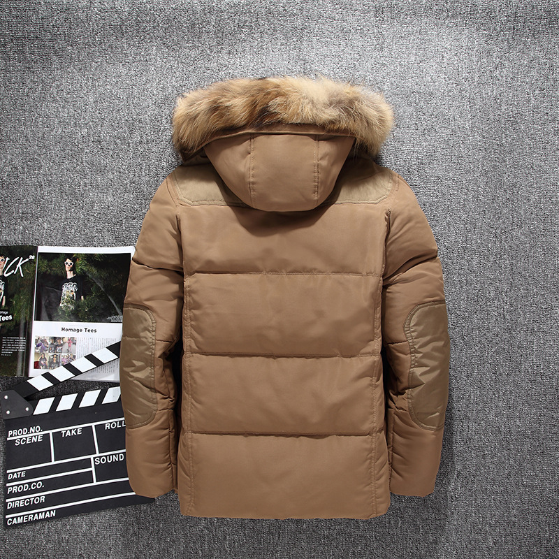 Men short   Down   jacket 2019 autumn winter Mens   Down     Coat   Outdoor new Big fur collar Casual clothing thicken hooded Beige black