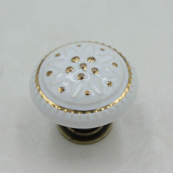 35mm Bronze Kitchen Cabinet Knobs White Ceramic Drawer Pulls Bronze Zinc  Alloy Dresser Wardrobe Handle Pulls Knobs
