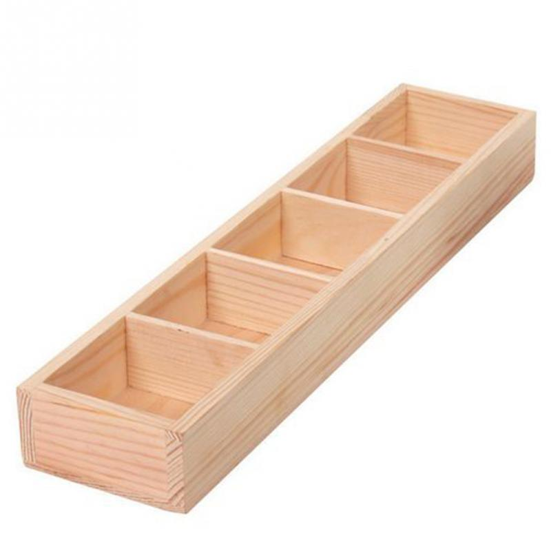 2018 new hot sales 5-Grid Wooden Succulent Plant Fleshy Flower Pot Box Tray Decorative Containers