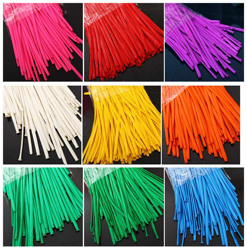 Long forme ballon Latex ballons couleurs assorties de mariage anniversaire noël vacances décor 100 P/lot attachant ballon de torsion