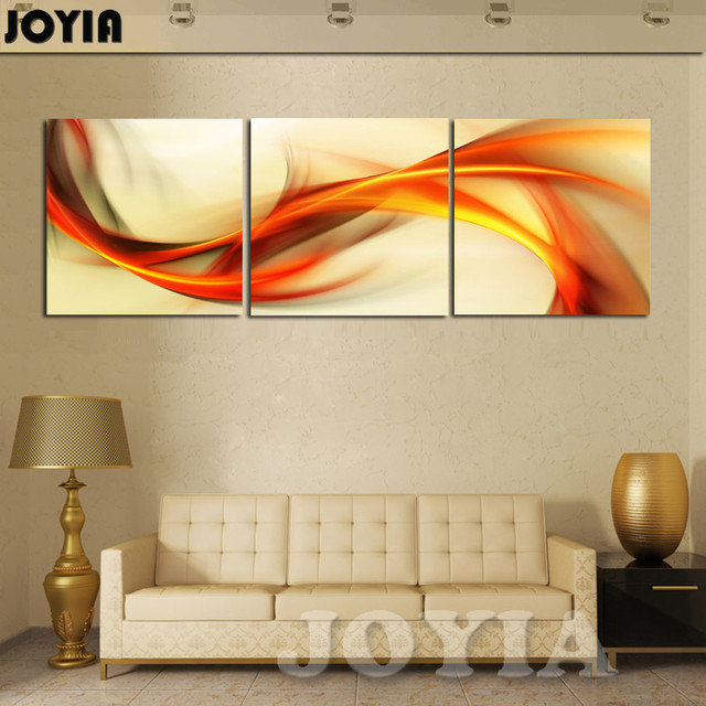 3 piece wall art abstract painting home decoration modern picture set yellow orange winds canvas prints