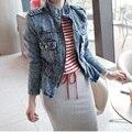 2016 denim outerwear female long-sleeve outerwear short design jacket denim top slim women coat 9861