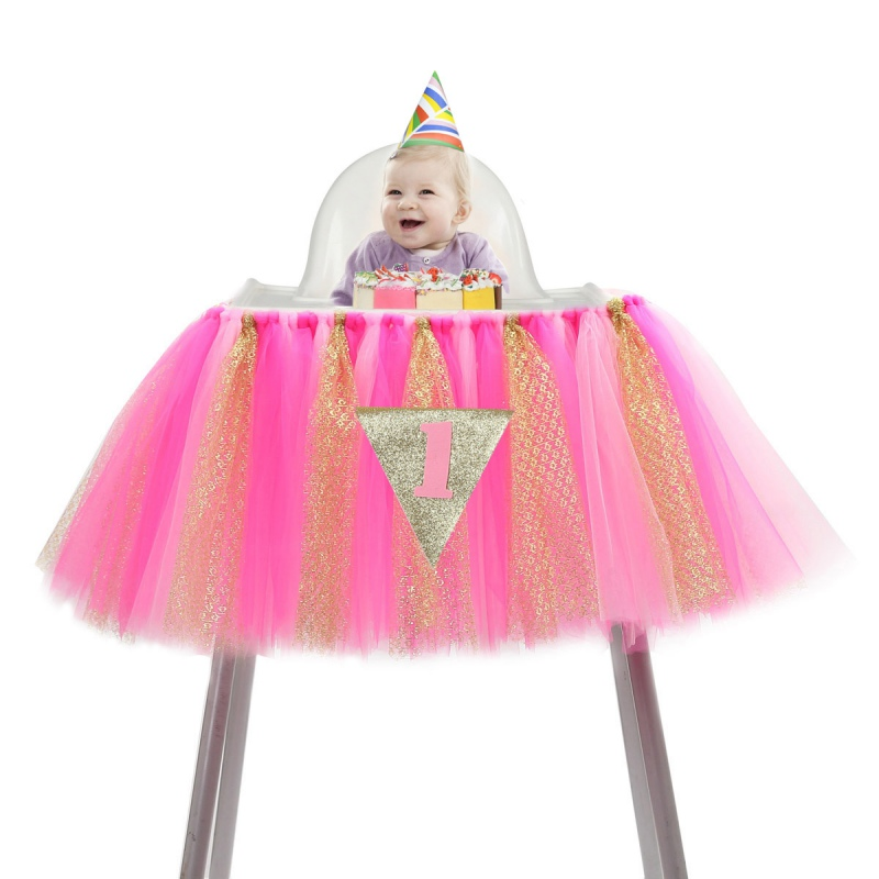 Baby Birthday Decoration High Chair Handmade Tulle Table Skirt Glitter Chair Skirt Party Supplies Cute Baby Shower Decoration