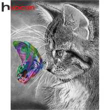 Huacan Diamond Embroidery Sale Cats 5D Diamond Painting Full Square Drill Butterfly Cross Stitch Diamond Mosaic Animals