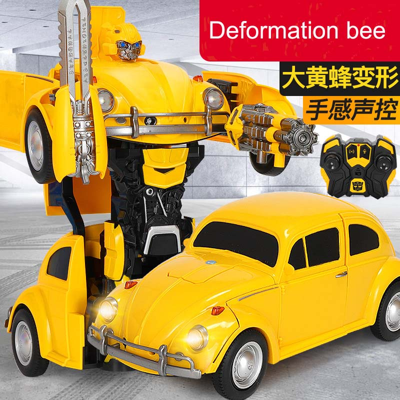 1:14 RC Transformer Toy One key Remote Control Car bees volkswagen beetle optimus hot rod with light and sound rc car kids gifts remote control charging helicopter