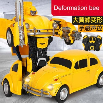 1:14 RC Transformer Toy One key Remote Control Car bees volkswagen beetle optimus hot rod with light and sound rc car kids gifts