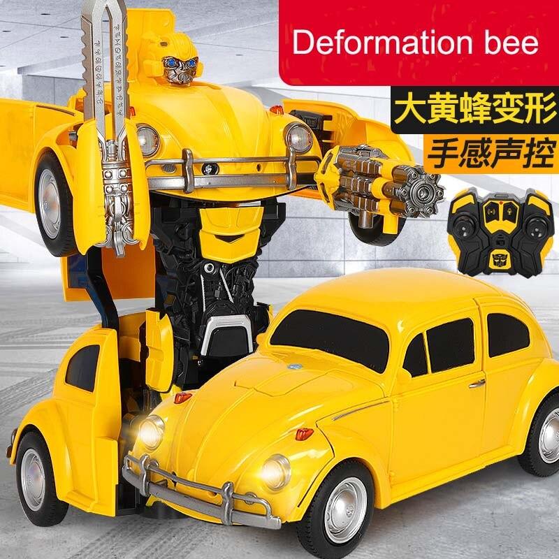 1:14 RC Transformateur Jouet Une clé télécommande De Voiture abeilles volkswagen beetle optimus hot rod avec son et lumière rc voiture enfants cadeaux