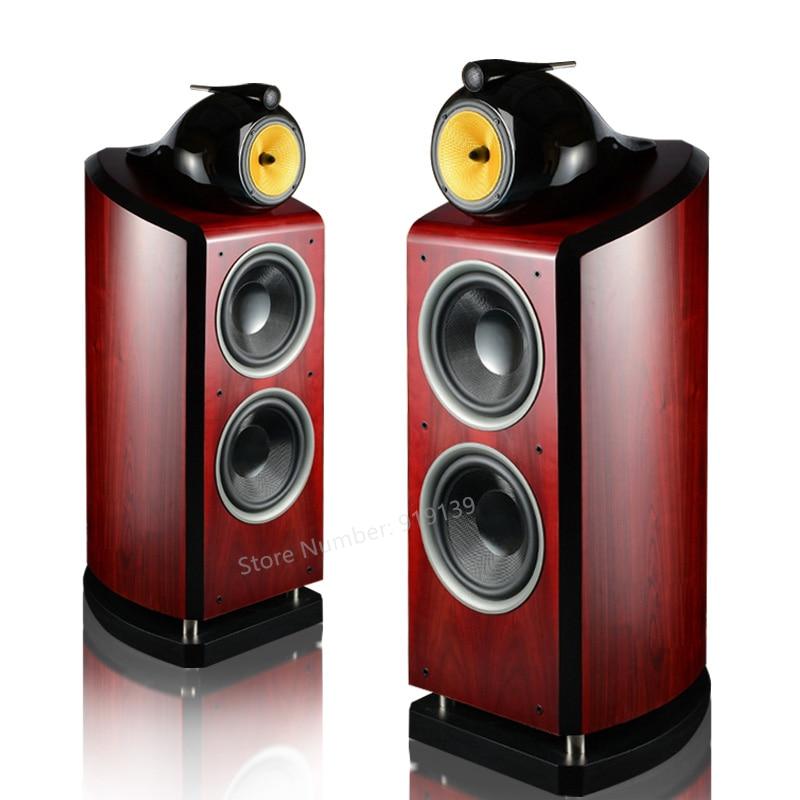 Tüketici Elektroniği'ten Kombinasyon Hoparlörler'de Hifi 2 Akustik Ahşap Hoparlör Çift 10 inç Woffer Sürücü 6.5 inç Orta Kademe 3 Yolu Ses Crossover Sineması Ses sistemi title=