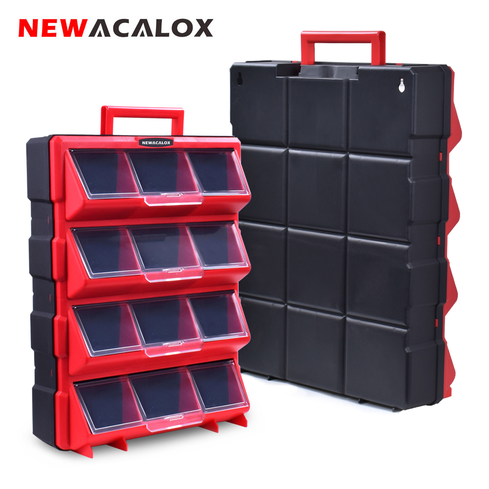 NEWACALOX Multi-Function Large Hardware Storage Box With Drawer Type Organizer Household Toolbox For Repair Accessories Toolcase