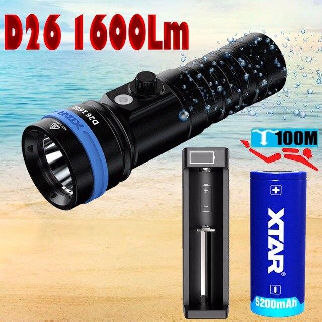 XTAR D26 1600 Diving Flashlight CREE XHP35 HI D4 1600 Lumen Beam Distance 432 Meter Magnetic Switch Torch 100 meter MarineLight