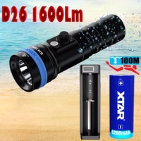 XTAR D26 1600 diving flashlight CREE XHP35 HI D4 1600 lumen beam distance 432 meter Magnetic switch torch 100 meter diving depth