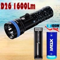 XTAR D26 1600 diving flashlight CREE XHP35 HI D4 1600 lumen beam distance 432 meter Magnetic switch torch 100 meter diving depth