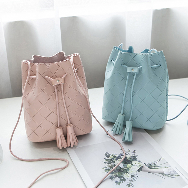 Women Bucket Bag PU Leather Tassels Drawstring Handbag Girl Casual Shoulder Messenger Bags Best Sale-WT