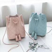 Women Bucket Bag PU Leather Tassels Drawstring Handbag Girl Casual Shoulder Messenger Bags Best Sale-WT
